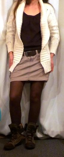 tenue avec collant marron