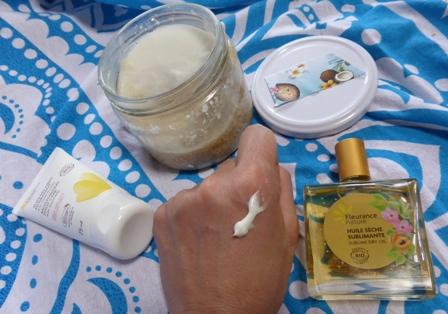 crème pieds et huile sublimante Fleurance, gommage à la coco DIY