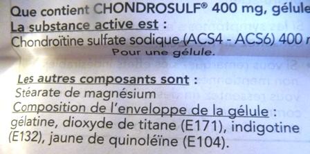 composés potentiellement dangereux Chondrosulf