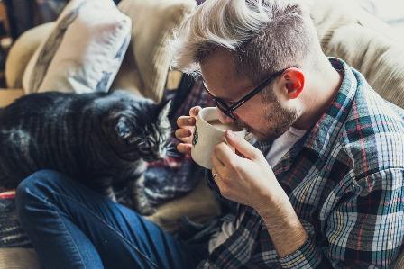 UNE-canapé chat personne