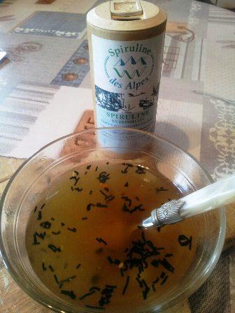 spiruline brindille dans la soupe